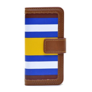 Dasein Yellow/ Blue Striped Wallet Phone Case for iPhone and Samsung Phones