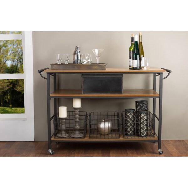 Wood And Metal Industrial Kitchen Cart: Industrial Dark Brown Cart By Baxton Studio