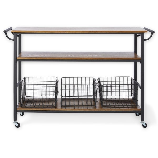 Metal Frame Rustic Kitchen Cart With Wood Tabletops And Shelves   Free  Shipping Today   Overstock.com   17114912