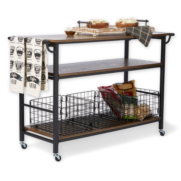Metal Frame Rustic Kitchen Cart with Wood Tabletops and Shelves - Free  Shipping Today - Overstock.com - 17114912