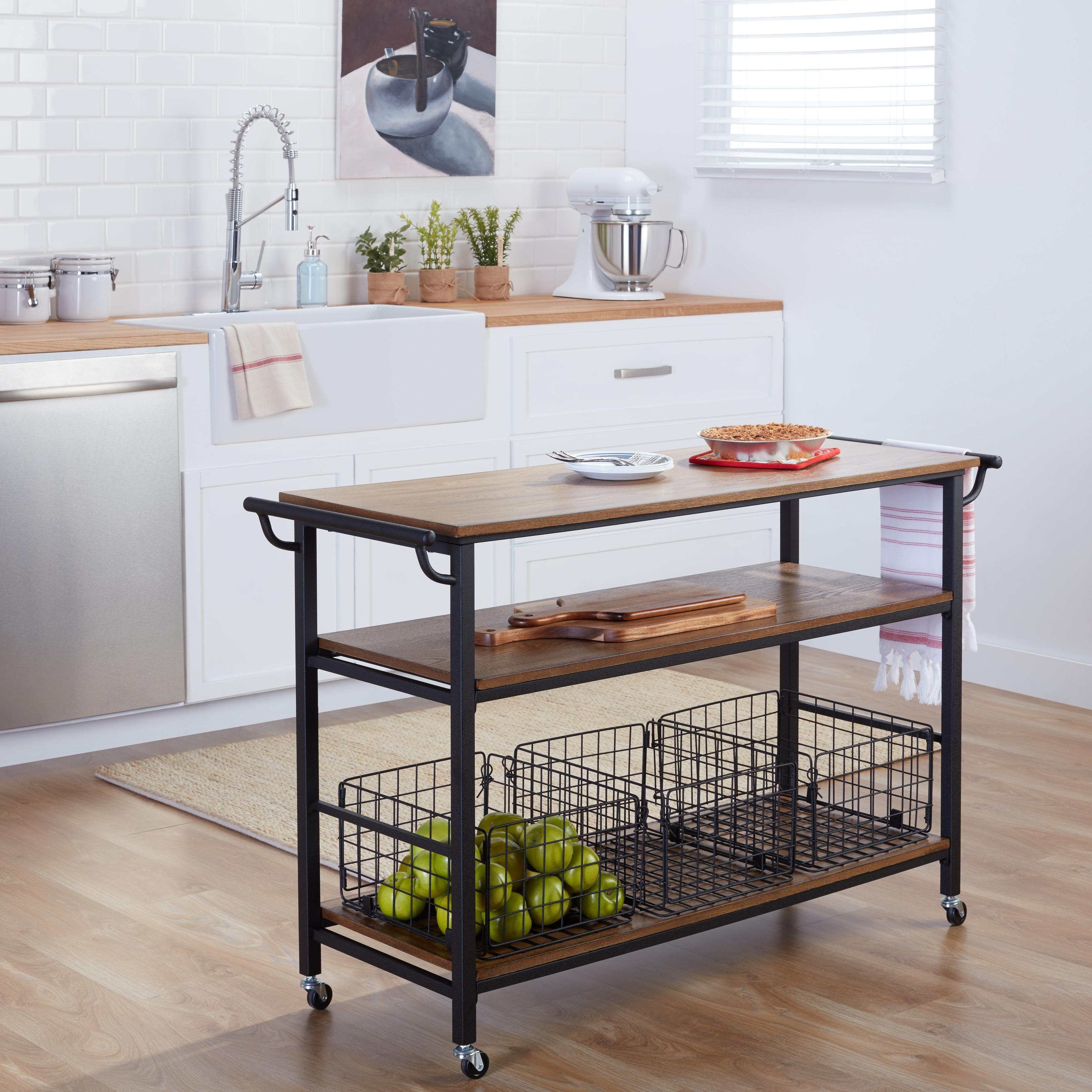 Details about Rolling Kitchen Island Cart Metal Frame Rustic Wood Tabletop  Shelves Baskets New