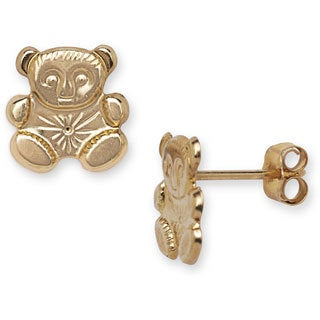 14k Yellow Gold Children's Teddy Bear Stamped Earrings
