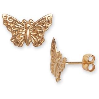 14k Yellow Gold Children's Butterfly Earrings