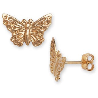 14k Yellow Gold Children's Butterfly Earrings