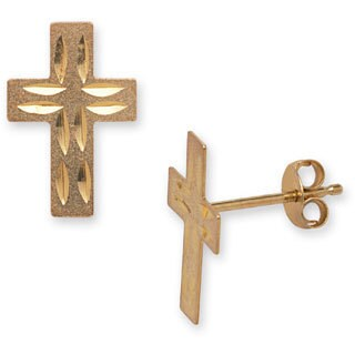 14k Yellow Gold Diamond-cut Stamped Cross Earrings