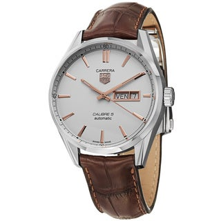 Tag Heuer Men's WAR201D.FC6291 'Carrera' Silver Dial Brown Leather Strap Day Date Watch