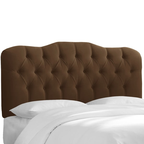 Skyline Furniture Tufted Headboard in Velvet Chocolate