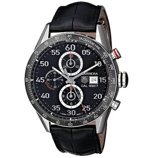 Tag Heuer Men's 'Carrera Calibre 1887' Stainless Steel and Leather Watch
