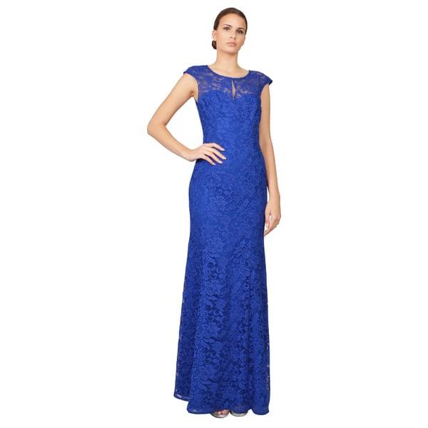 Ml Monique Lhuillier Women S Blue Lace Open Back Gown