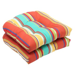 Pillow Perfect Outdoor Westport Spring Wicker Seat Cushion (Set of 2)