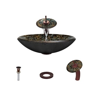 MR Direct 634 Hand-Painted Foil Undertone Glass Vessel Sink, with Oil-Rubbed Bronze Vessel Faucet, and Vessel Pop-up Drain