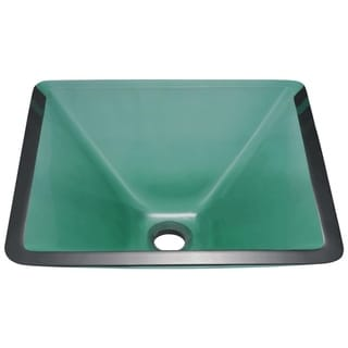 MR Direct 603 Emerald Colored Glass Vessel Sink, with Brushed Nickel Vessel Faucet, Sink Ring, and Vessel Pop-up Drain