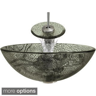 MR Direct 624 Cracked Vineyard Glass Vessel Bathroom Sink, with Brushed Nickel Vessel Faucet, Sink Ring, and Vessel Pop-up Drain