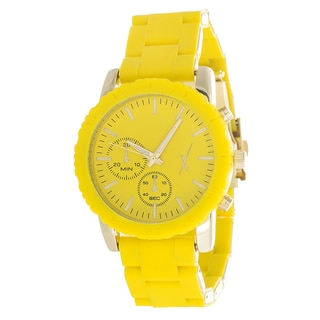 Xtreme Women's Gold Case and 2 Eyes on Dial withYellow Rubber Strap X Watch