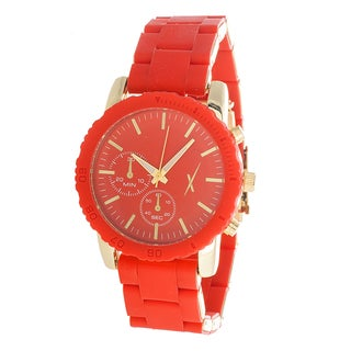 Xtreme Time Women's Gold Case and 2 Eyes on Dial with Red Rubber Strap Watch