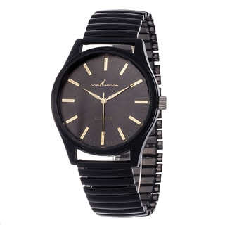 Via Nova Women's Black Case with Black Stretch Metal Strap Watch