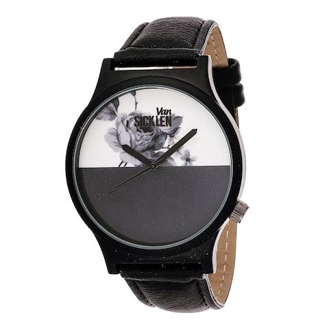 Van Sicklen Men's Black ROSE DESIGN Gun Watch