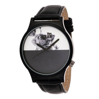 Van Sicklen Men's Black ROSE DESIGN Gun Watch