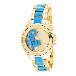 "Xtreme Boyfriend Gold LOL ""LOVE"" on Dial with Gold & Light Blue Stainless Steel Strap Watch"