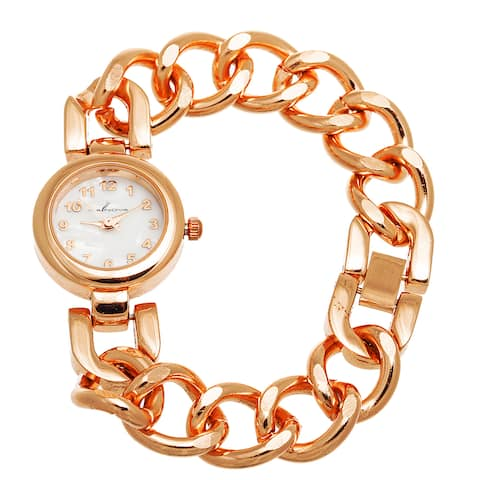 Via Nova Women's Rose Case with Rose Chain Strap Slim Watch