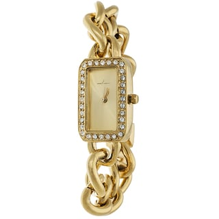 Via Nova Women's Gold Case and Rectangle Gold Dial with Gold Chain Strap Watch