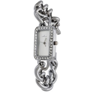 Via Nova Women's Silver Case and Rectangle Silver Dial with Silver Chain Strap Watch