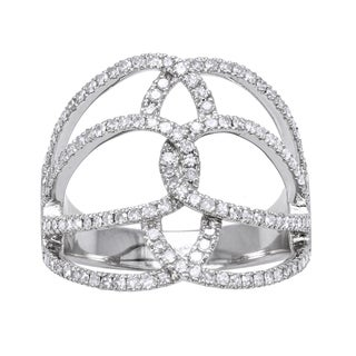 Beverly Hills Charm 10k White Gold 5/8ct TDW Geometric Multi Row Diamond Ring