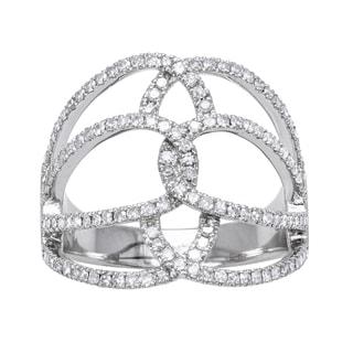 10k White Gold 5/8ct TDW Geometric Multi Row Diamond Ring
