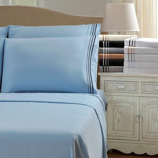 Superior Wrinkle Resistant Embroidered 6 Piece Microfiber Sheet Set