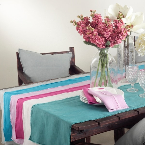Fringed Design Stone Washed Linen Table Runner