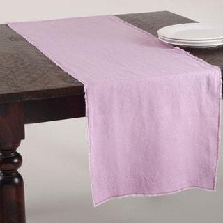 Fringed Design Stone Washed Linen Table Runner