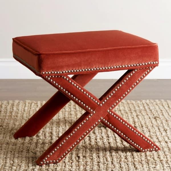 Awe Inspiring Shop Silver Orchid Puffy Orange Nailhead Trim Ottoman Bench Theyellowbook Wood Chair Design Ideas Theyellowbookinfo