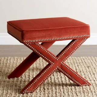Abbyson Marcus Sangria Orange Nailhead Trim Ottoman Bench