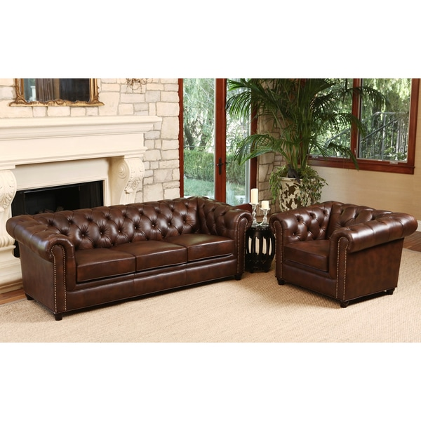 Abbyson Vista Tufted Distressed Brown Italian Chesterfield Leather Sofa And Armchair Set Free