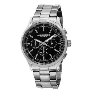 Akribos XXIV Men's Swiss Quartz Dual Time Tachymeter Stainless Steel Silver-Tone Bracelet Watch