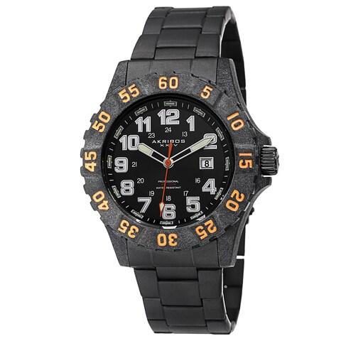 Akribos XXIV Men's Divers Quartz Stainless Steel Orange Bracelet Watch