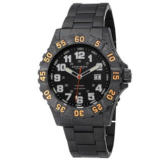 Akribos XXIV Men's Divers Quartz Stainless Steel Orange Bracelet Watch