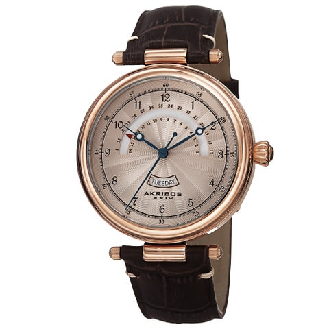 Akribos XXIV Men's Quartz Retrograde Date Leather Rose-Tone Strap Watch