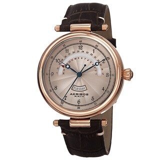 Akribos XXIV Men's Quartz Retrograde Date Leather Rose-Tone Strap Watch