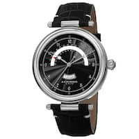 Akribos XXIV Men's Quartz Retrograde Date Leather Silver-Tone Strap Watch