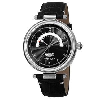Akribos XXIV Men's Quartz Retrograde Date Leather Silver-Tone Strap Watch