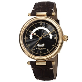 Akribos XXIV Men's Quartz Retrograde Date Leather Gold-Tone Strap Watch