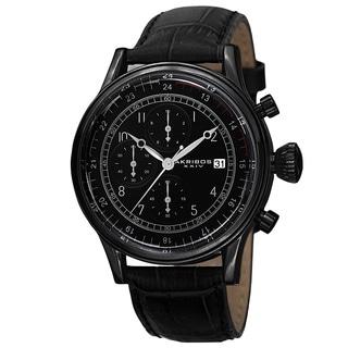 Akribos XXIV Bold Men's Quartz Chronograph Leather Black Strap Watch