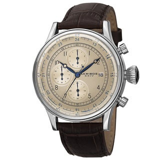 Akribos XXIV Bold Men's Quartz Chronograph Leather Silver-Tone Strap Watch