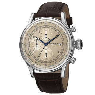 Akribos XXIV Bold Men's Quartz Chronograph Leather Silver-Tone Strap Watch with FREE GIFT|https://ak1.ostkcdn.com/images/products/9962918/P17115461.jpg?impolicy=medium