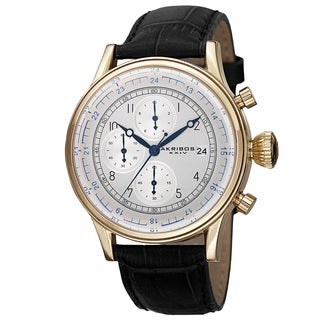 Akribos XXIV Bold Men's Quartz Chronograph Leather Gold-Tone Strap Watch with FREE GIFT