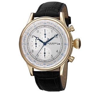 Akribos XXIV Bold Men's Quartz Chronograph Leather Gold-Tone Strap Watch