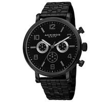 Akribos XXIV Men's Quartz Chronograph Stainless Steel Black Bracelet Watch
