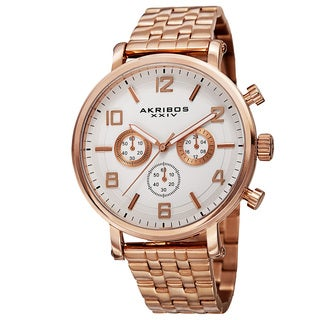 Akribos XXIV Men S Quartz Chronograph Stainless Steel Rose Tone Bracelet Watch