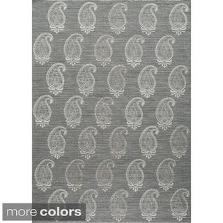 Needlepoint Paisley Flat Weave Reversible Wool Area Rug (2' x 3')